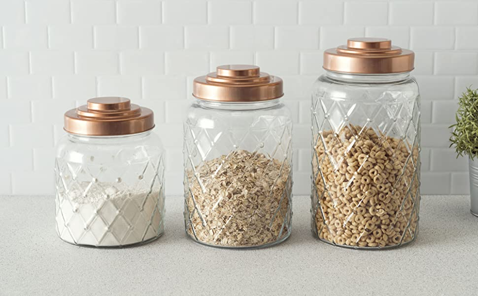 Glass Tar, Textured, Etched, Copper, Clear, Steel, Metal, AIr-tight, 1.1 gal, Large, snack jar,