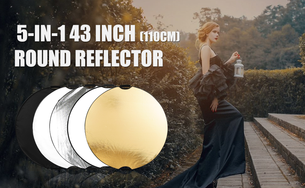 110cm Light Reflector Diffuser 5-in-1 43 Inch Portable Round Reflector Collapsible Multi Disc With Carrying Case With 2 Comfortable Grips Ideal For Photography Activities for Studio or any Photograp