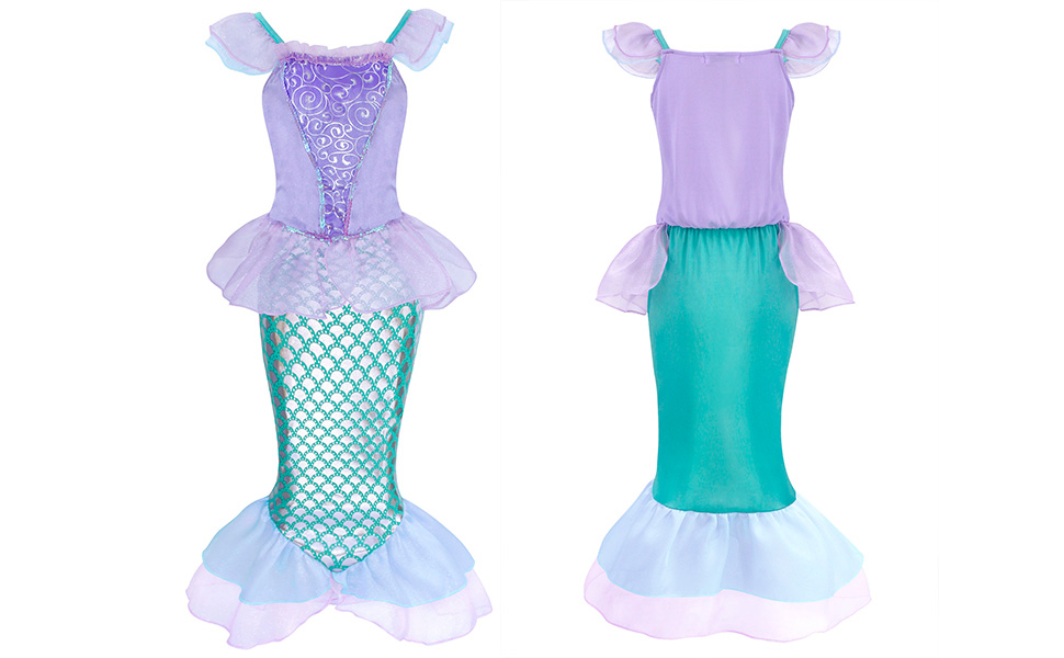 Little Girls Dress Mermaid Outfits Costume Princess Birthday Party Cosplay Clothes HG019-Green-11