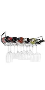 Wallniture Piccola Under Cabinet Wine Rack & Glasses Holder 6 Bottle Organizer Metal Chrome