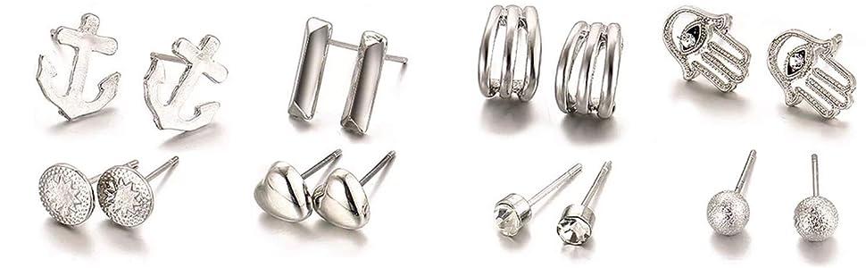 20 Paare sortierte Mehrfachbolzen Ohrring Schmucksache Set mit Organisator
