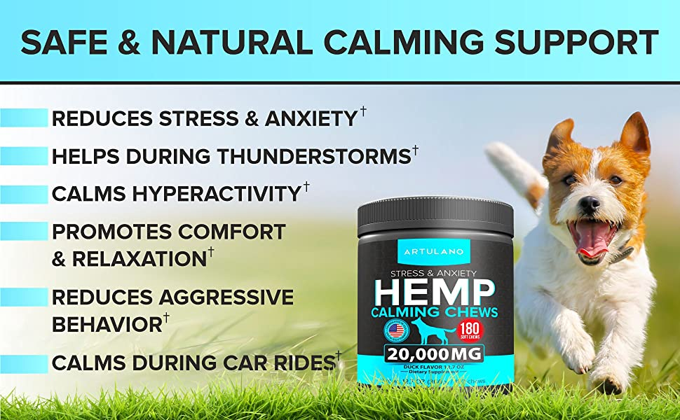 Hemp Calming Treats for Dogs - Made in USA - 180 Soft Dog Calming Treats - Aids Stress, Anxiety