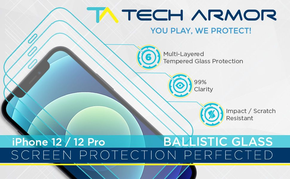 apple iphone 12 Pro iPhone 12 screen protector ballistic tempered glass curved 9h hardness