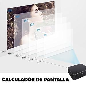 Calculador de pantalla del proyector xsagon hl600