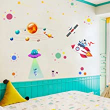 Wall Decor for Boys Room Art Outer Space Star Rockets Planets Stickers Removable Space Wall Decal