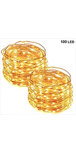 33 FT 100 LED Copper Wire String Lights, Warm White, 2 Pack
