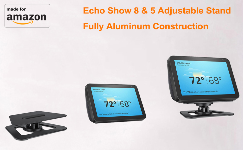 Stand for Echo Show 5 Tilt function Anti-Slip Base Magnetic attachment,360 Degree Swivel Elpha Adjustable Stand Mount Accessories Compatible with  Echo Show 5 2019 Release