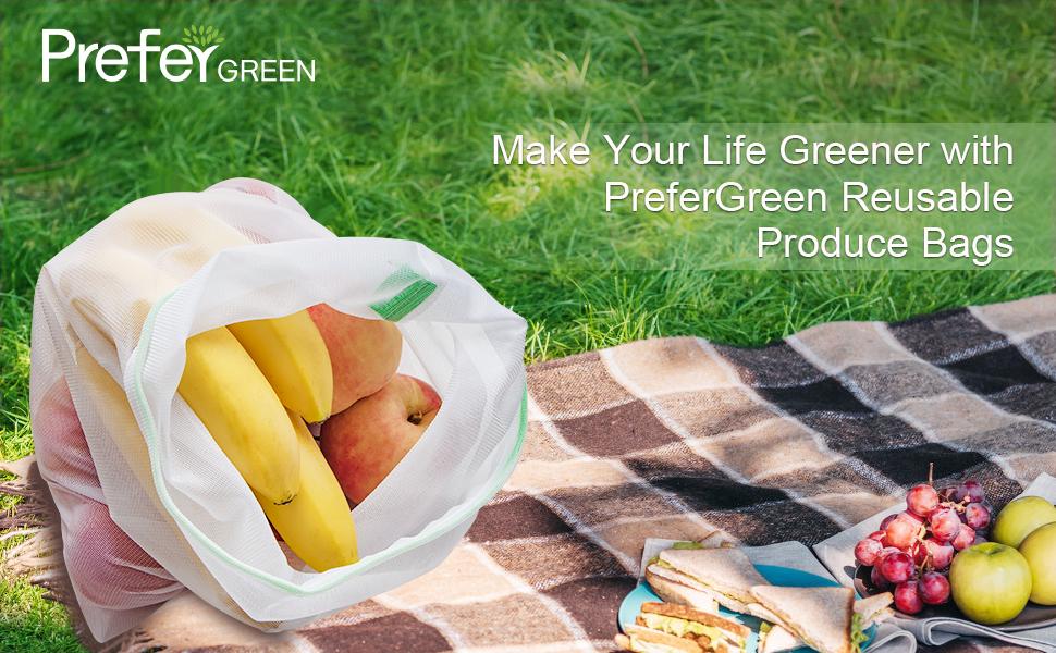 Prefer Green 12PCS Reusable Produce Bags, Premium Zero Waste Mesh Bags