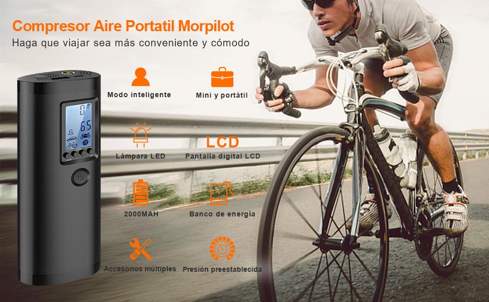 morpilot Mini Compresor Aire Coche Portatil 4 Modos Preestablecidos /& 1 Personalizado para Neum/áticos de Coche Moto Bici Otros Inflables Bomba Bicicleta El/éctrico con Pantalla LCD USB Recargable