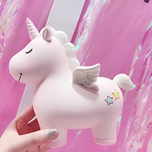 Money Bank for Children,Home Decor Display Purzest Large Size Personalized Ceramic Unicorn Piggy Bank for Girls Great Christmas /&Brithday Gift for Kids //Adults/&Resin Coin Saving Pot Pink