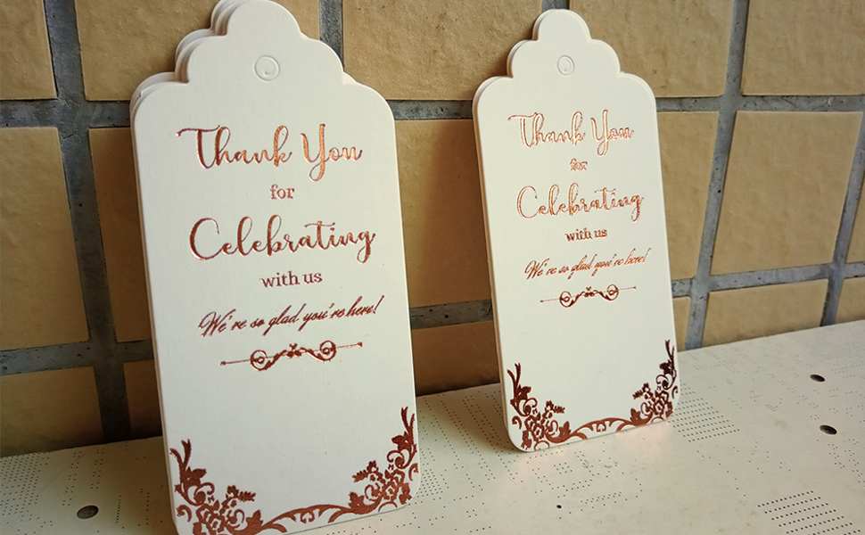 white thank you tags with rose gold foil stamping