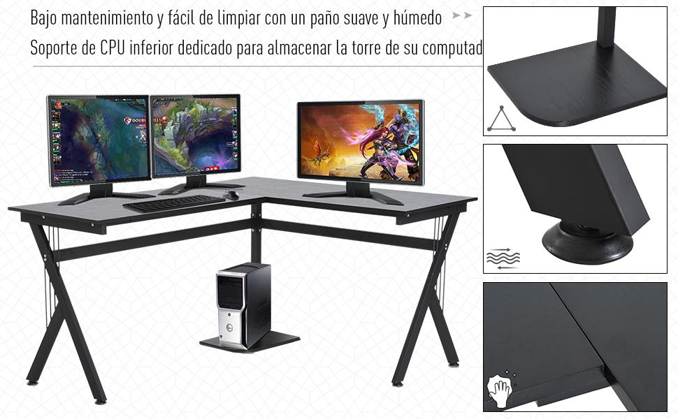 HOMCOM Mesa de Ordenador PC de Tabla de Madera Mesa Esquinera de ...