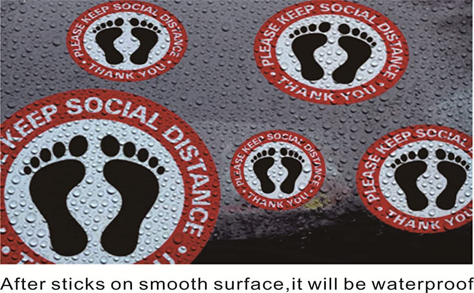 "Waterproof Social Distancing Floor Decals 12"" 6ft 20 Pack Foot Prints Stop Signs Adhesive Stickers"