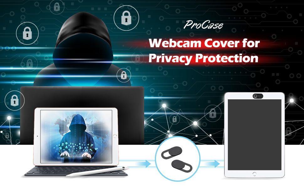 ProCase Webcam Cover Slide for Laptop Phone 6 Pack Black Ultra Thin Flexible Slide Camera Blocker Privacy Security Cover for MacBook Air Pro iMac iPad iPhone Echo PS4 Tablet PC Computer
