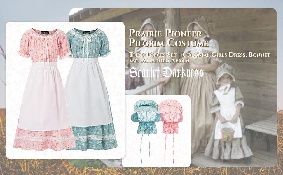 Colonial Girls Costume Dress Prairie Pioneer Pilgrim Costume