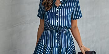 striped print dress summer mini dress short sleeve stripe with ruffle sleeve casual button down