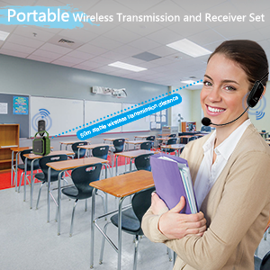 wireless headset microphone system for teacher