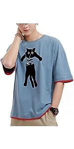 おもしろ tシャツ ネコをつかまって 柄 メンズtシャツ ネコをつかまって 柄