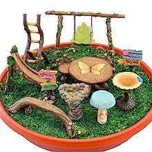 fairy garden accessories supplies tools mini miniature swing ladder slide birdbath table chairs
