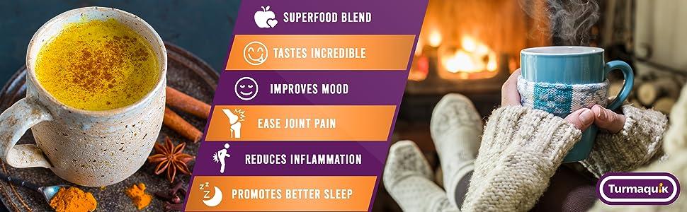 golden milk powder latte turmeric curcumin inflammation pain sleep taste organic keto vegan plant