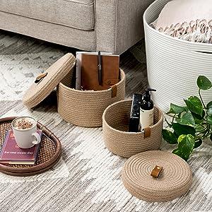 basket set with lids for living room