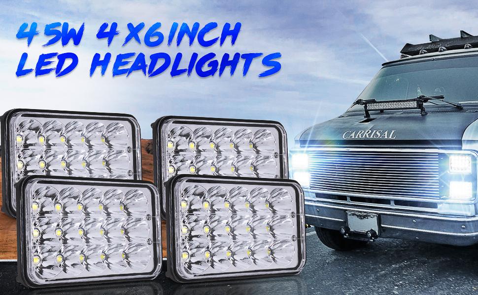dot approved led headlights 4x6 Truck Peterbilt 379 Chevy S10 Blazer RV Freightliner Semi headlight