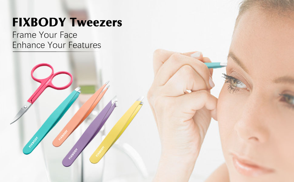 FIXBODY Tweezers Set 5-Piece - Professional Stainless Steel Tweezers with Curved Scissors
