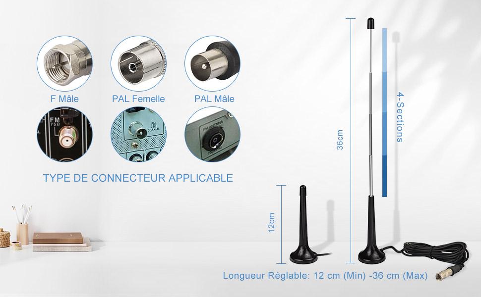 NOIR 6,5 cm Antennenfuß brancher Antenne Pied FM//AM Flexible Nouveau Pour
