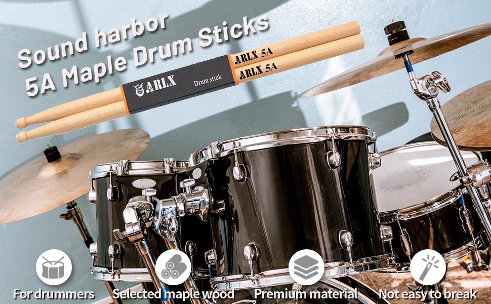 3 Pares Baquetas de Tambor Baquetas de Madera de arce Cl/ásico Antideslizante 5A Drum Sticks para Adultos Ni/ños Estudiantes y Principiantes