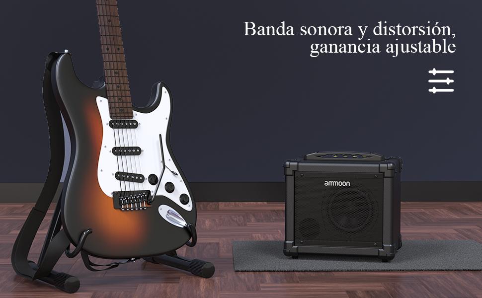 Soporte de Conexi/ón BT Doble Fuente de Alimentaci/ón Sonido Anal/ógico ammoon 10W Amplificador de Guitarra El/éctrico Portatil