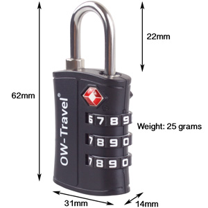3 Dial TSA Approved Luggage Lock Dimensions. Combination Padlock: Suitcase Backpack Gym Locker Box