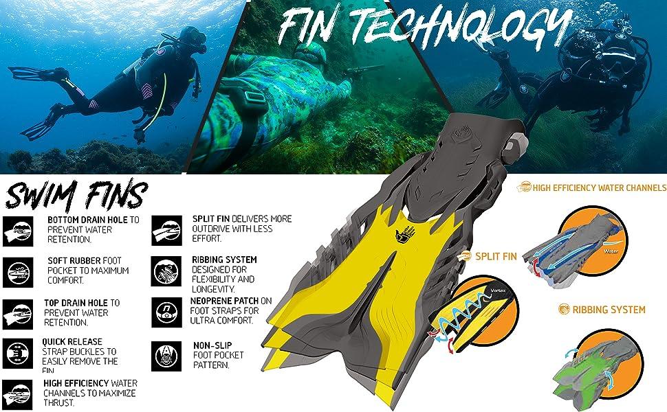 swim fins, water, ocean, diving, diving set