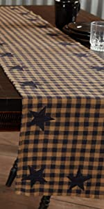 Navy Star Kitchen Tabletop Runner primitive country rustic Americana VHC Brands cotton placemat