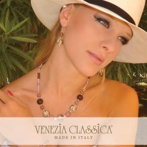 foglia oro Collana vetro reticello perle veneziane regalo fidanzata VETRO ARTISTICO\u00ae MURANO N.89 Made in Italy regalo donna