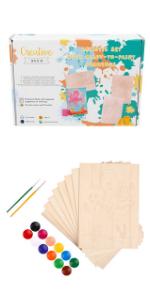 Set Artístico de Colorear para Niños + 8 Hojas de Contrachapado