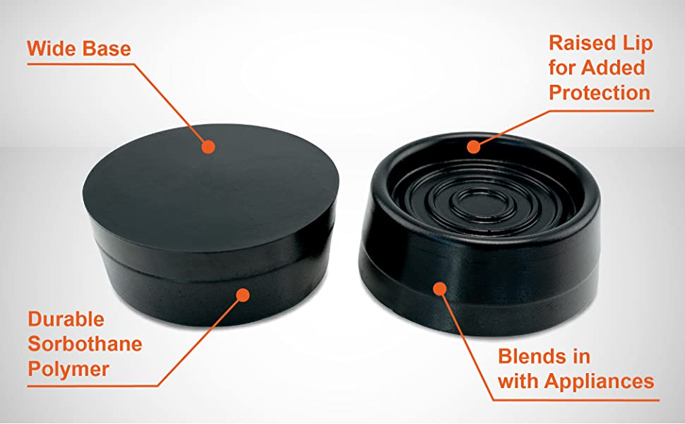 An upside-down black disc next to one right-side-up with 2 callouts on each in orange lettering.