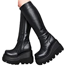 Details about  /Women/'s Mid-Calf Boots High Block Heels Round Toe Shoes Buckle Side Zip Fgg2