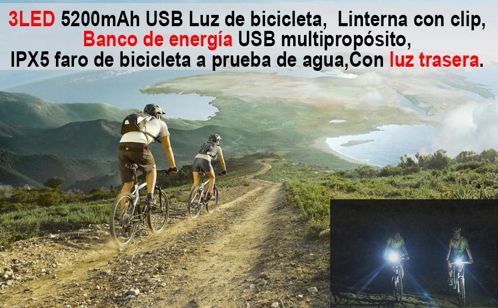 Funci/ón Impermeable Port/átil Excelente Iluminaci/ón Muy Adecuada para Mejorar La Seguridad De Los Ciclistas Nocturnos LKIHAH Luz De Bicicleta F/ácil De Instalar Luz De Carga USB