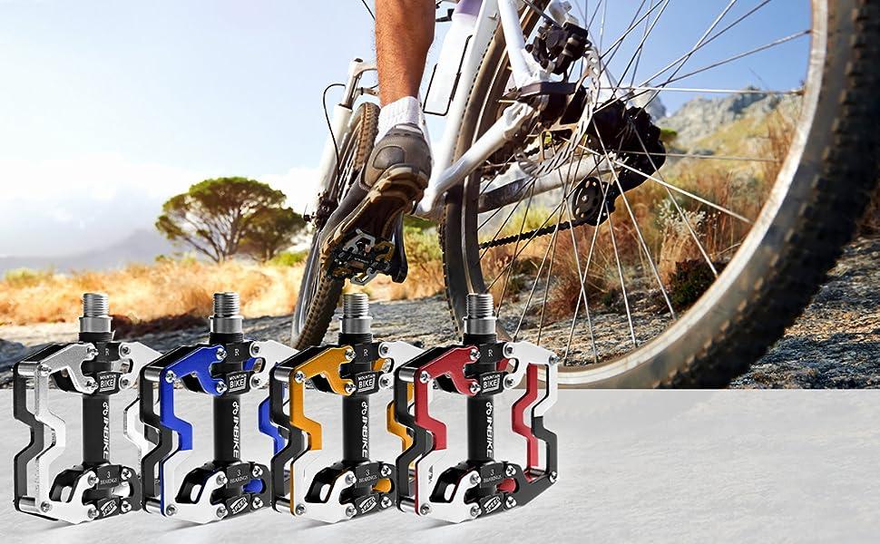 INBIKE Lightweight Mountain Bike Pedals 3 Bearings Bike Platform Pedals Alloy Flat for BMX Road MTB Bicycle
