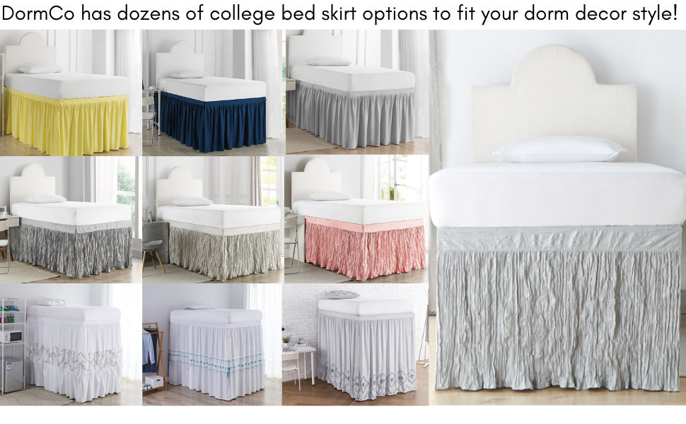 extended college bedskirt bed skirt for dorm rooms lofted raised bed risers sorority fraternity life