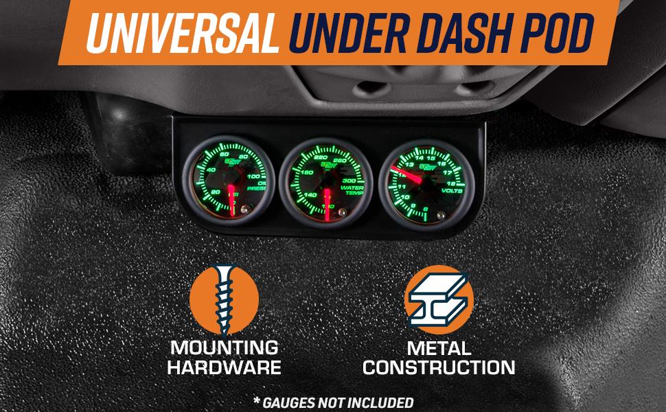 Gauge to Vehicles Dash 2-1//16 GlowShift Universal Black Single Gauge Metal Dashboard Pod Fits Any Make//Model Mounts 1 52mm