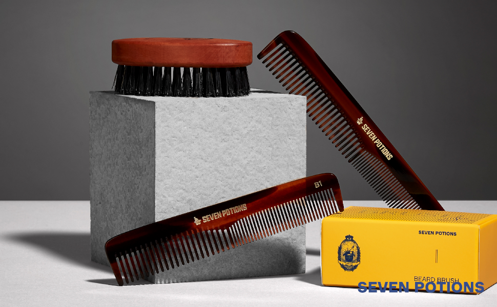 Seven Potions made by gentlemen for gentlemen high quality beard and hair products oil shampoo brush