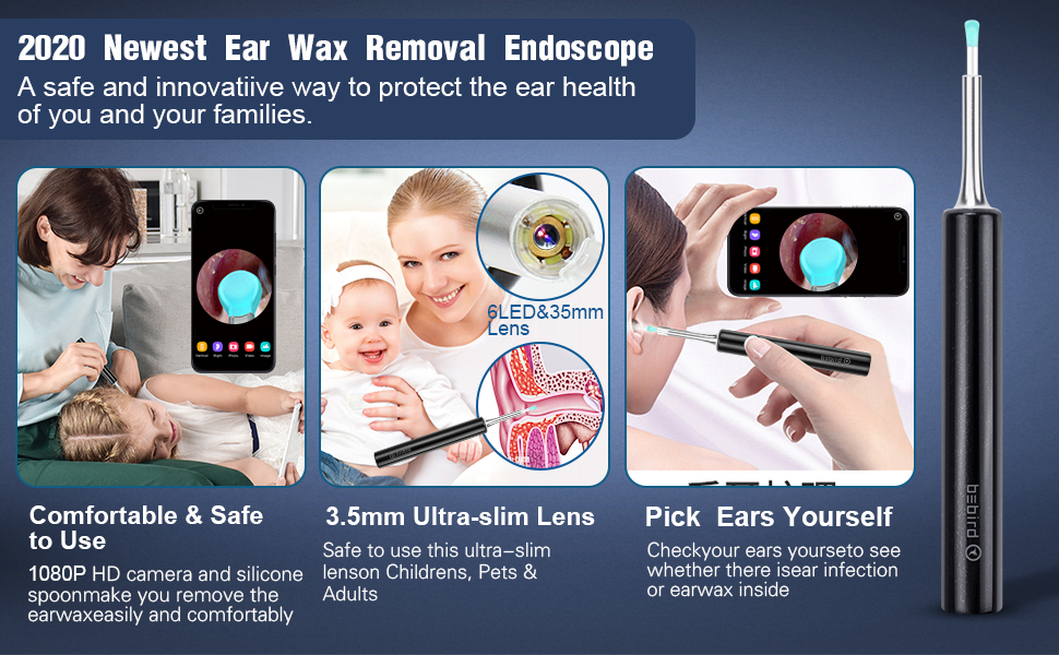 Ear Wax Removal Tool Earwax Remover Endoscope Cleaner Otoscope Kits iPhone iPad Android Smart Phones