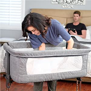Standalone bassinet - Mika Micky Bedside Sleeper Bedside Crib Easy Folding Portable Crib,Grey