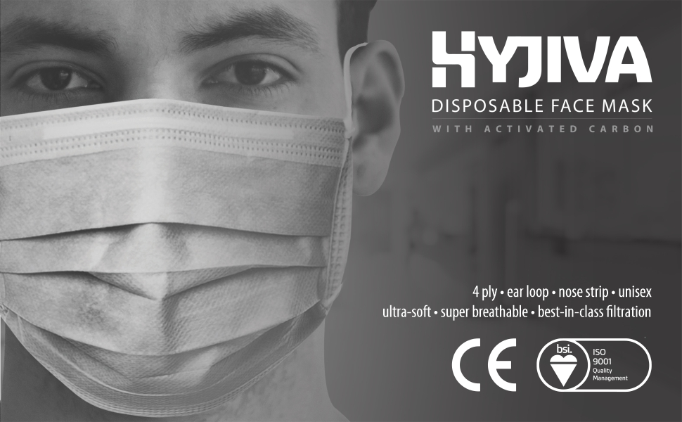 hyjiva disposable 4-ply face mask with activated carbon
