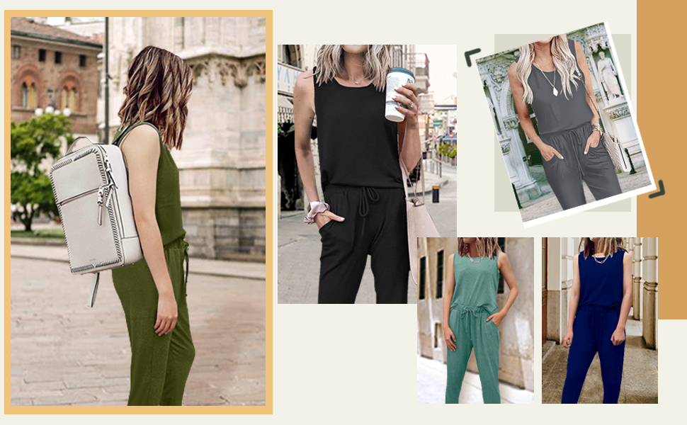 Women's Two Piece Outfit Sleeveless Pullover Tops Lounge Sets Long Pants Tracksuit Jogger Set