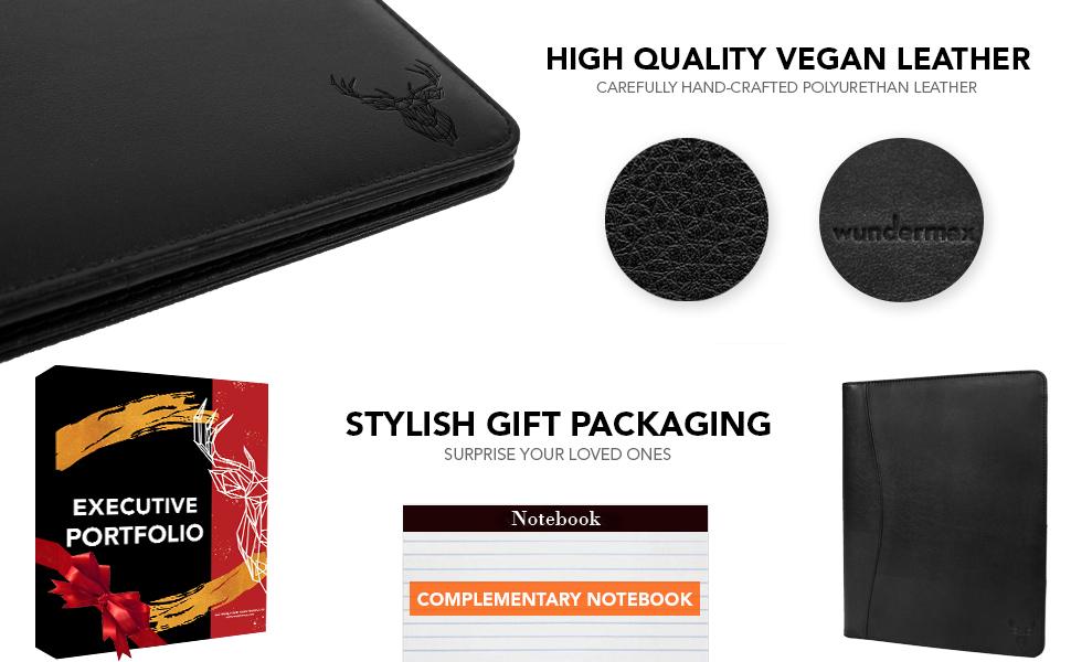 leather padfolio stylish black portfolio zippered closure tablet sleeve with writing pad