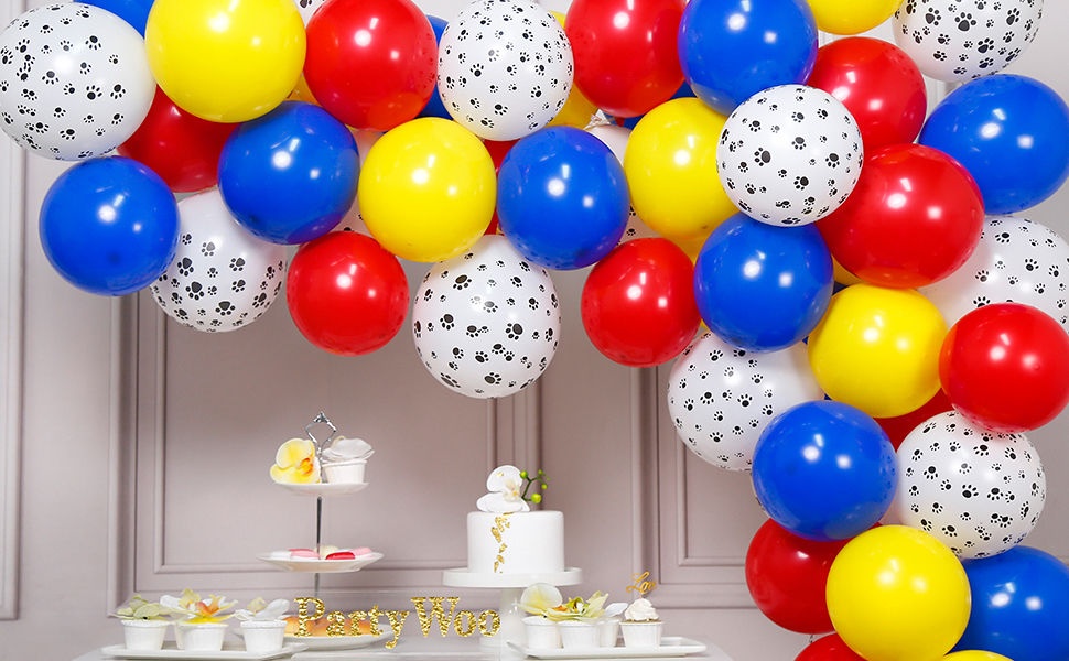 PartyWoo Paw Patrol Balloons, 70 pcs 12 inch Blue Red Yellow balloons, Paw Print Balloons, Paw Balloons for Paw Patrol Party Decorations, Toy Story ...