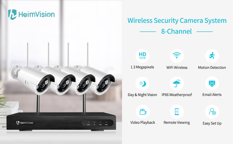 HeimVision HM241 WiFi Security Camera System, 8CH 1080P NVR 4Pcs 960P  Outdoor/ Indoor WiFi Surveillance Cameras with Night Vision, Weatherproof,