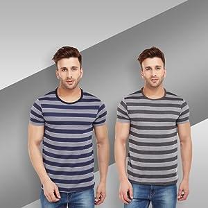 VIMAL Black Graphic Printed Round Neck Tshirt for Men
